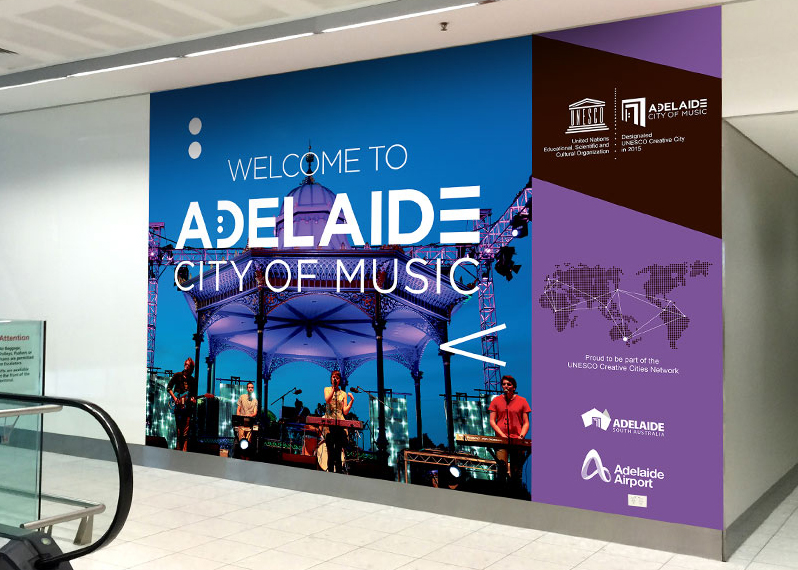 Adelaide-UNESCO-City-of-Music hammer at Adelaide Airport