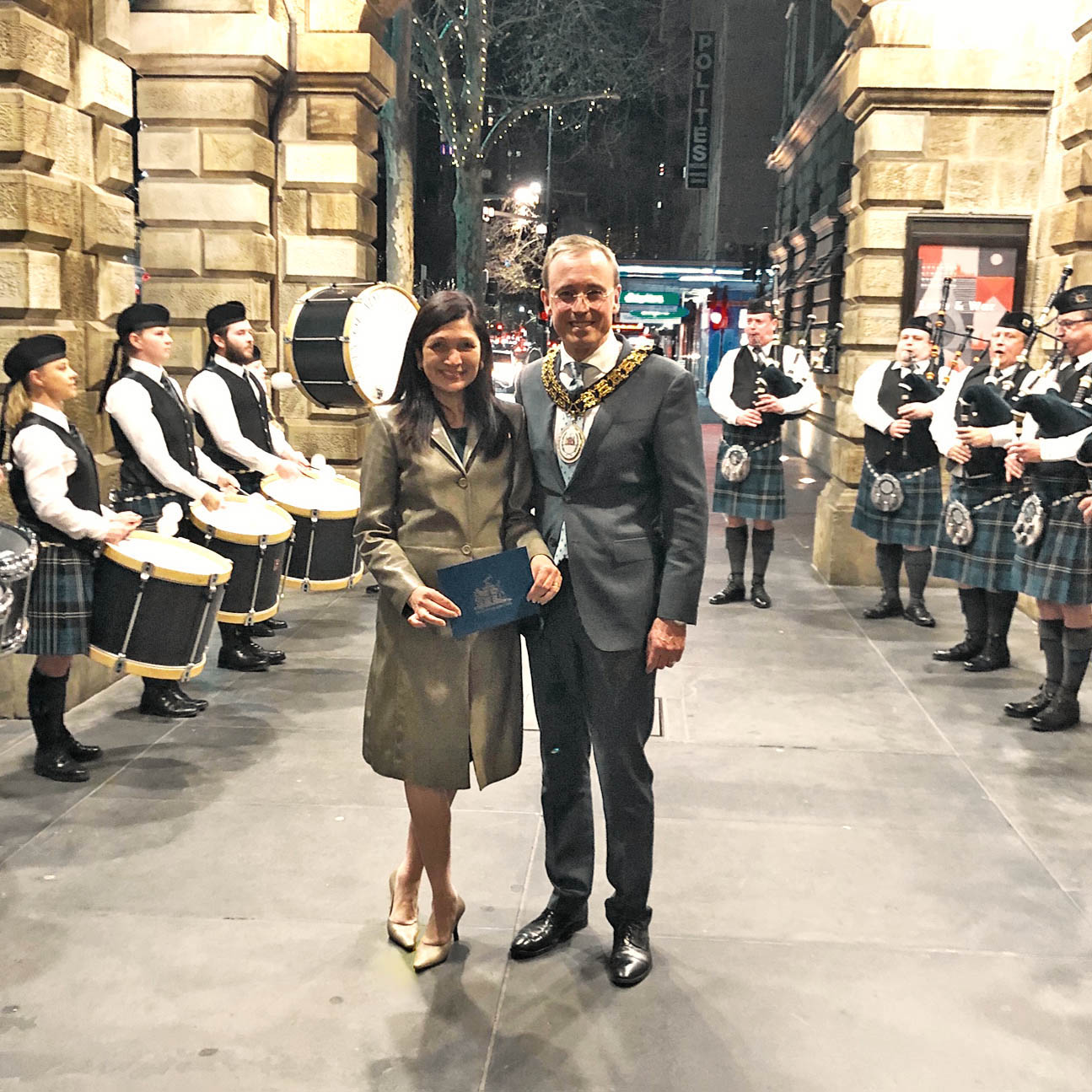City of Adelaide Pipe Band with Lord Mayor Martin Haese and Lady Mayoress Genevieve Theseira-Haese at Adelaide Town Hall