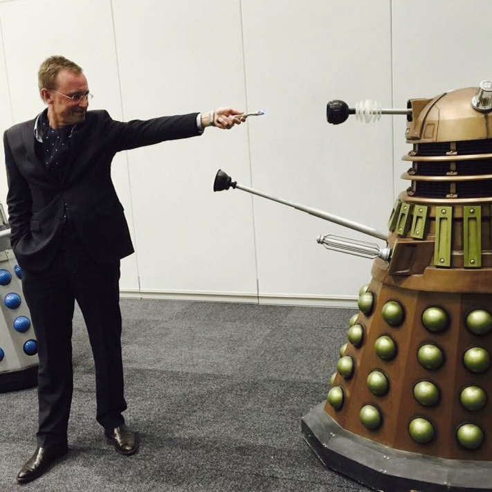 Lord Mayor Martin Haese AKA Dr Who stares down Daleks at AVCON Adelaide Convention Centre
