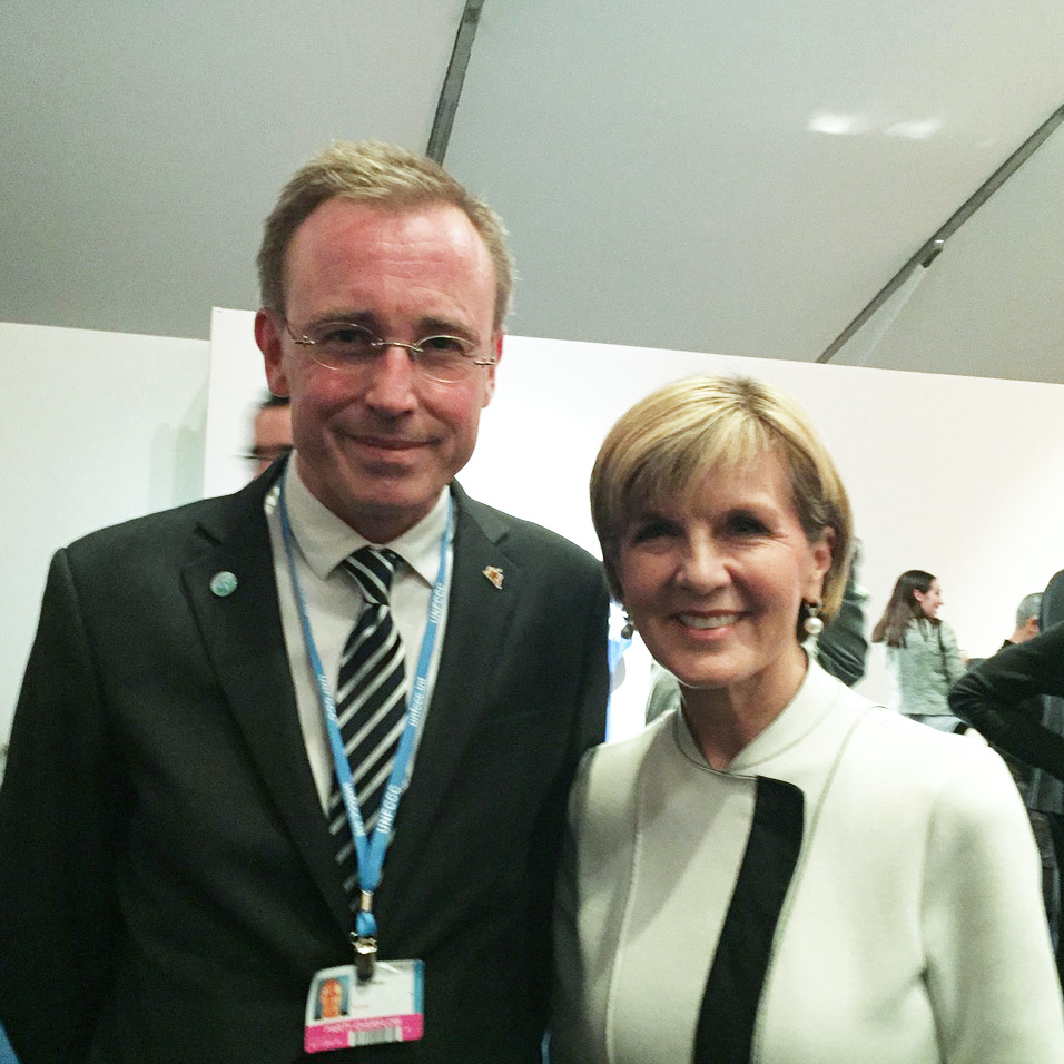 Lord Mayor Martin Haese with the Honourable Julie Bishop MP at the United Nations COP21 Paris Climate Change Summit