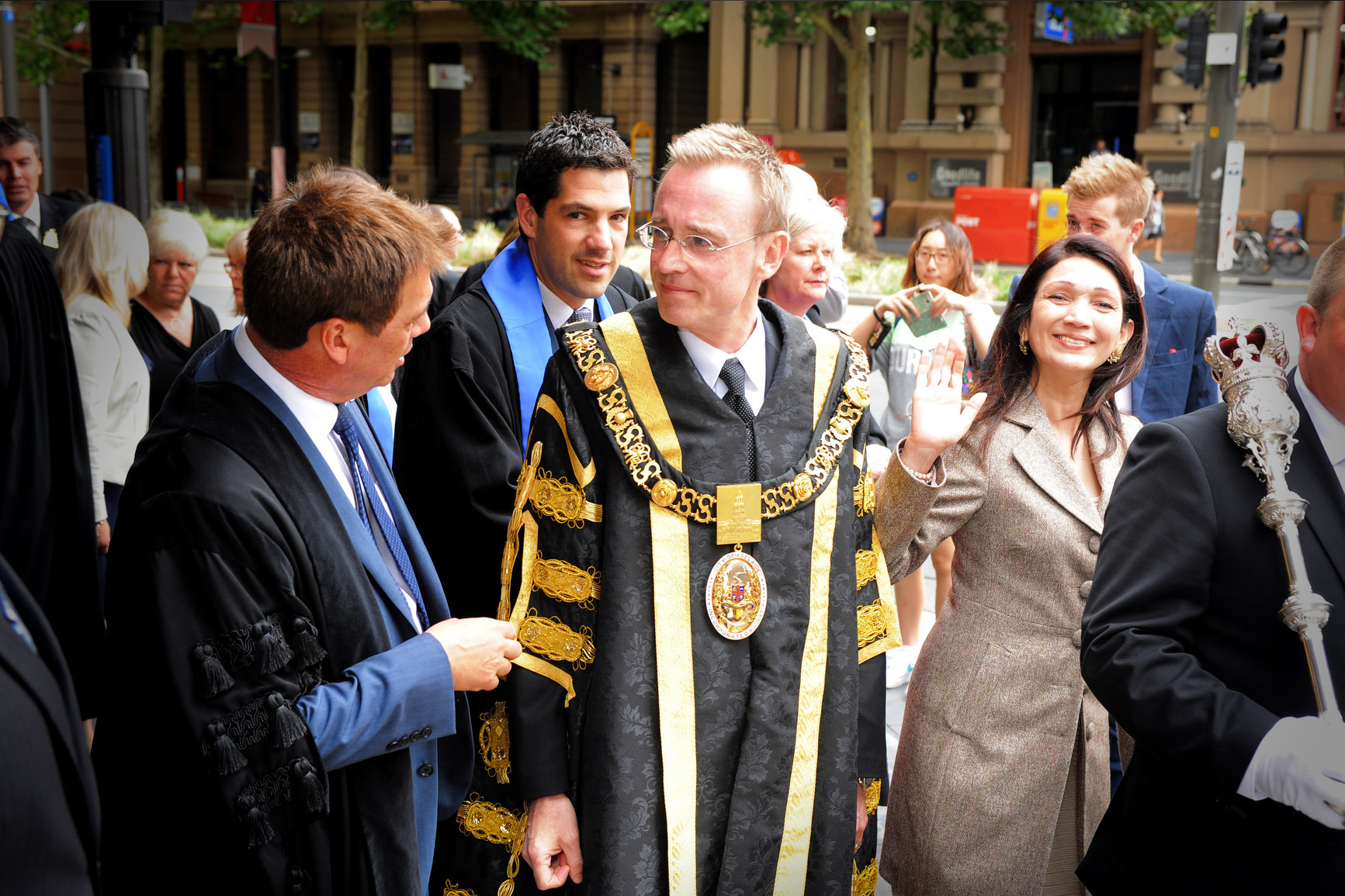 Lord Mayor Martin Haese and Lady Mayoress Genevieve Theseira on King William Street
