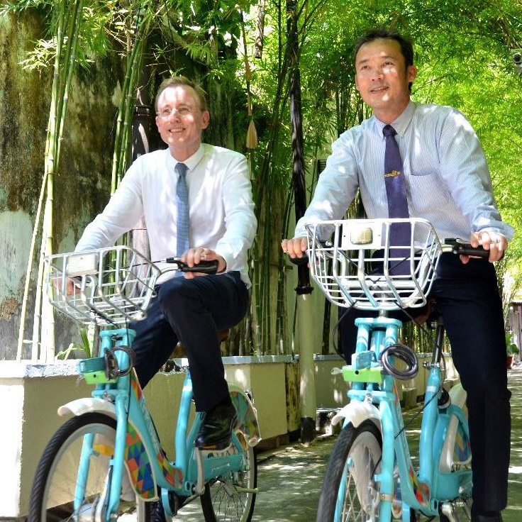 Lord Mayor Martin Haese cycling with Mayor Yew Tong Seang Penang Island Council Sister City Adelaide