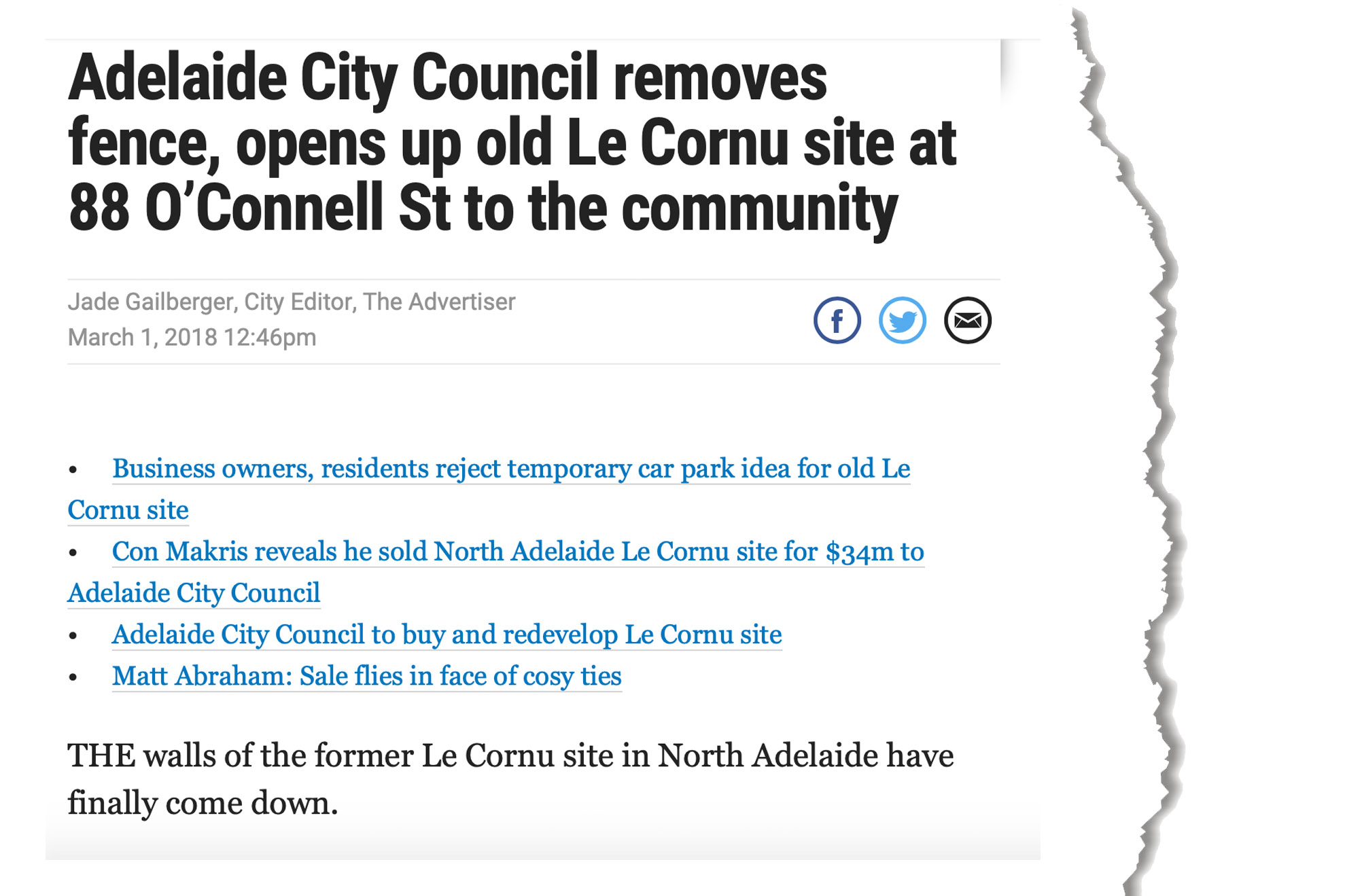 Adelaide City Council Lecornu Site 88 O'Connell Street The Advertiser 1st of March 2018