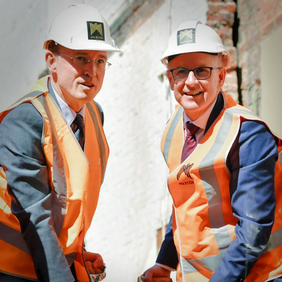 Lord Mayor Martin Haese and Premier Jay Weatherill sod turning ceremony Realm Apartments Austin Street Adelaide