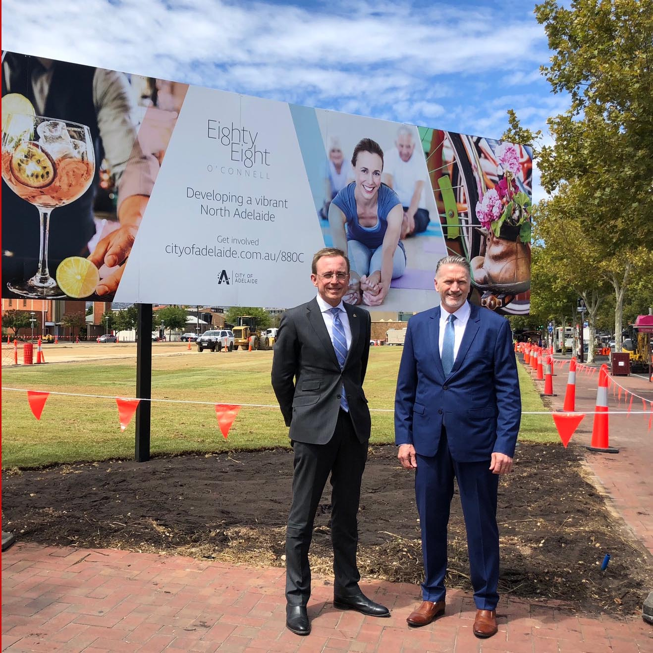 Lord Mayor Martin Haese with Adelaide City Council CEO Mark Goldstone at the former LeCornus site 88 O'Connell Street North Adelaide