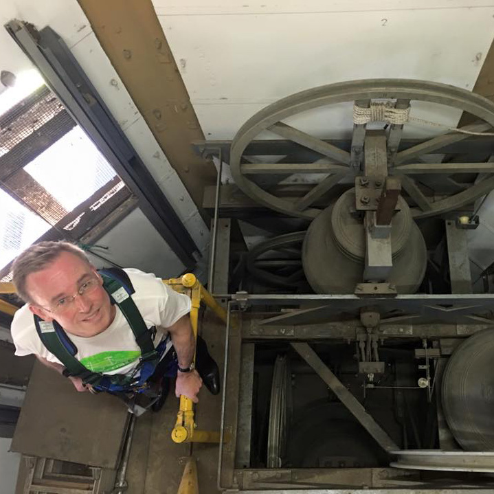 Lord Mayor Martin Haese climbs the Adelaide Town Hall bell tower