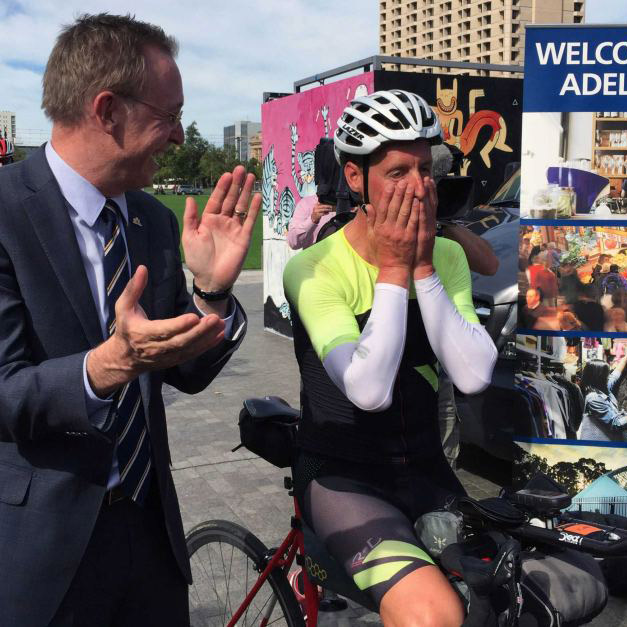 Lord Mayor Martin Haese greets Kristof Allegaert Tour Down Under Victoria Square