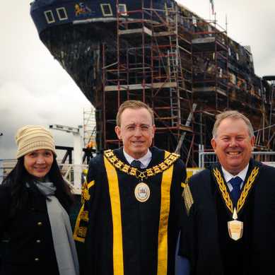 Lord Mayor Martin Haese Lady Mayoress Genevieve Theseira Haese and Mayor Gary Johanson with City of Adelaide Clipper Ship
