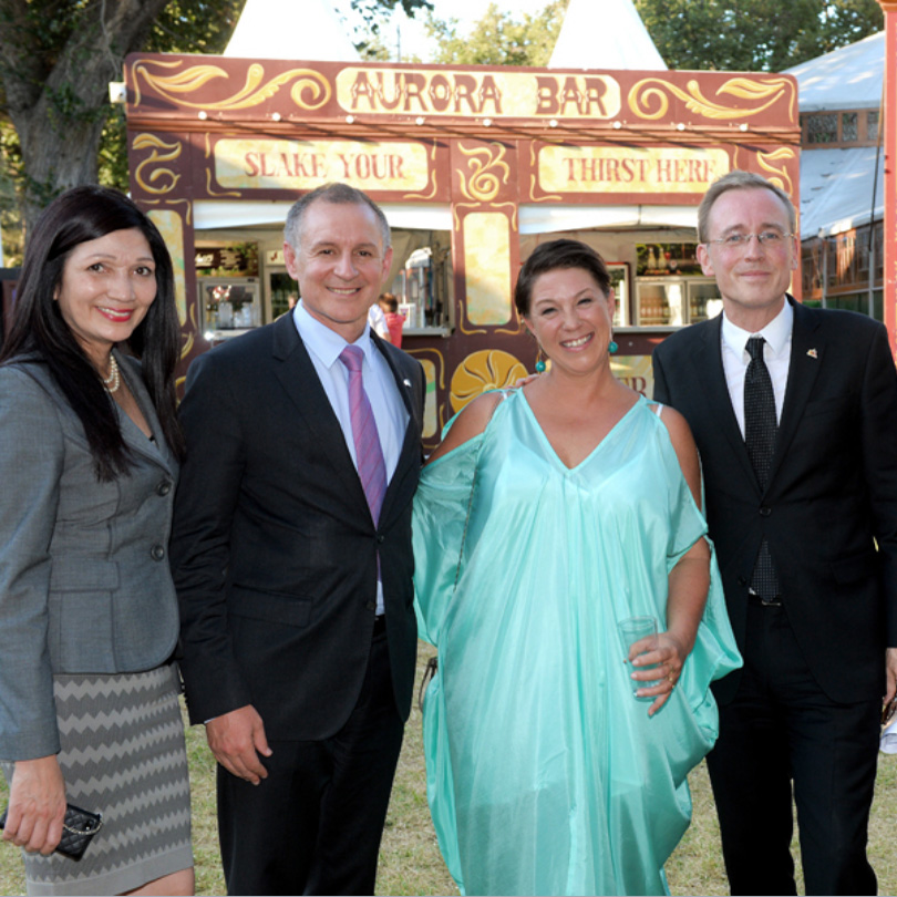 Lord Mayor Martin Haese with Premier Jay Weatherill MP Lady Mayoress Genevieve Theseira-Haese and Michelle Buxton at The Garden of Unearthly Delights Adelaide Fringe