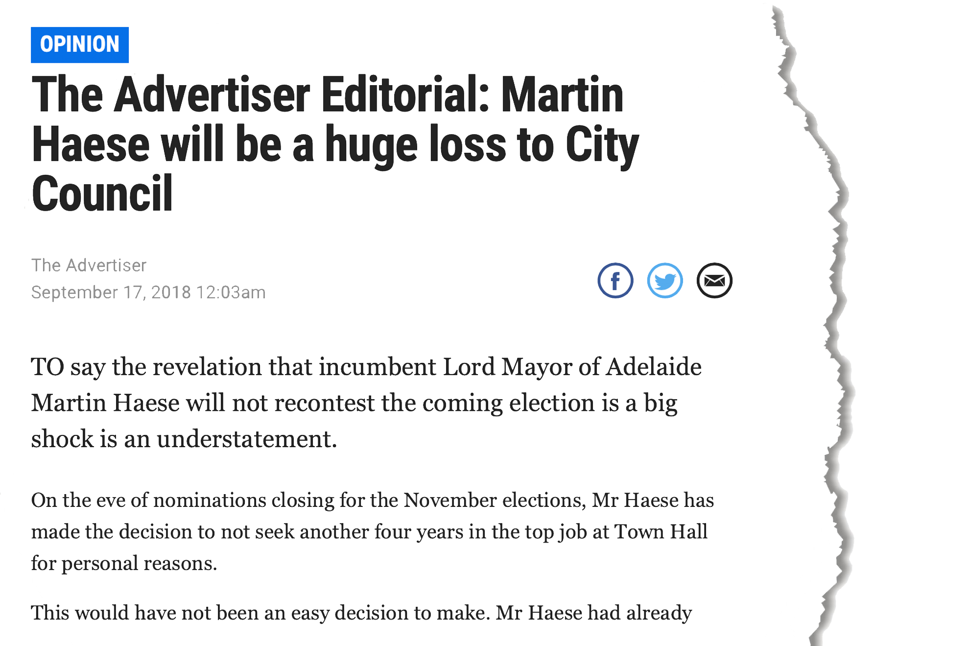 Lord Mayor Martin Haese The Advertiser Editorial Sptember 17th 2018