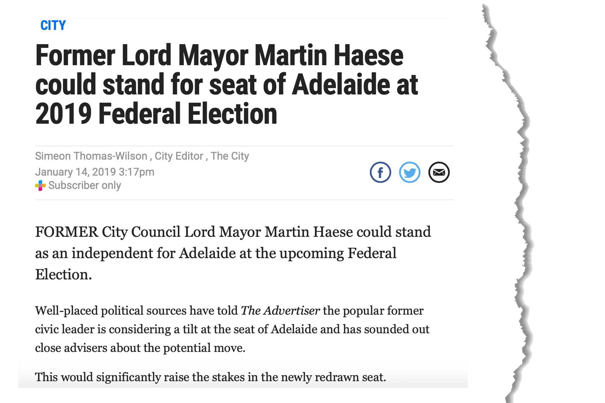 martin-haese-federal-electio-speculation-adelaide-now-14-january-2019