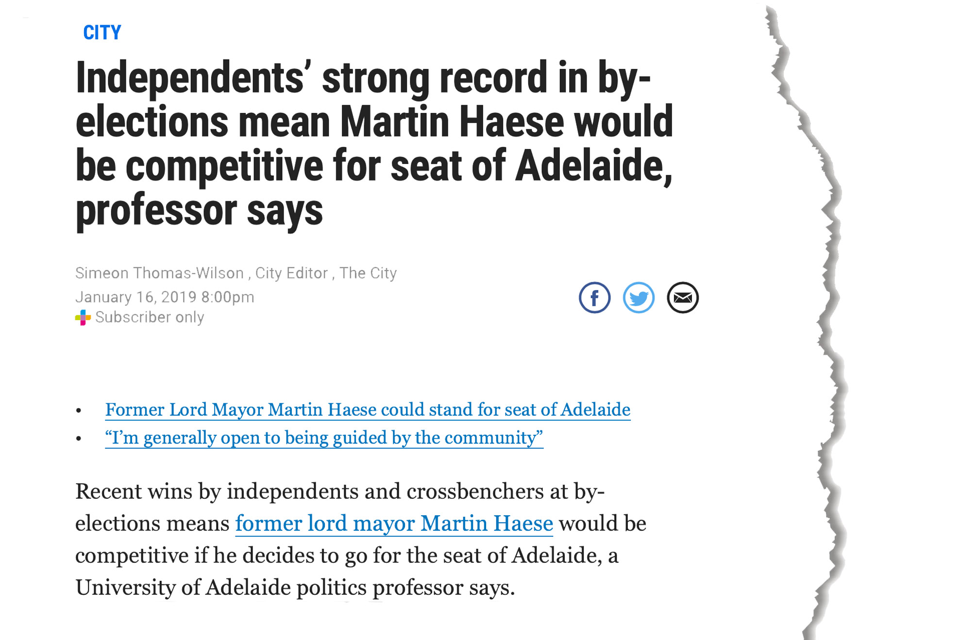 martin-haese-federal-election-speculation-the-advertiser16-january-2019