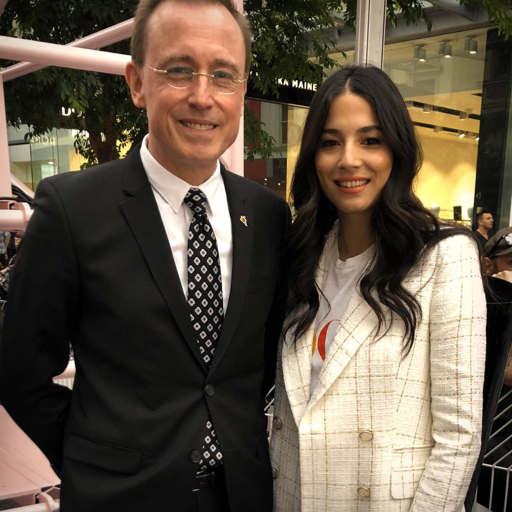 Lord Mayor Martin Haese with Jessica Gomes for Vogue Magazine Australia Festival