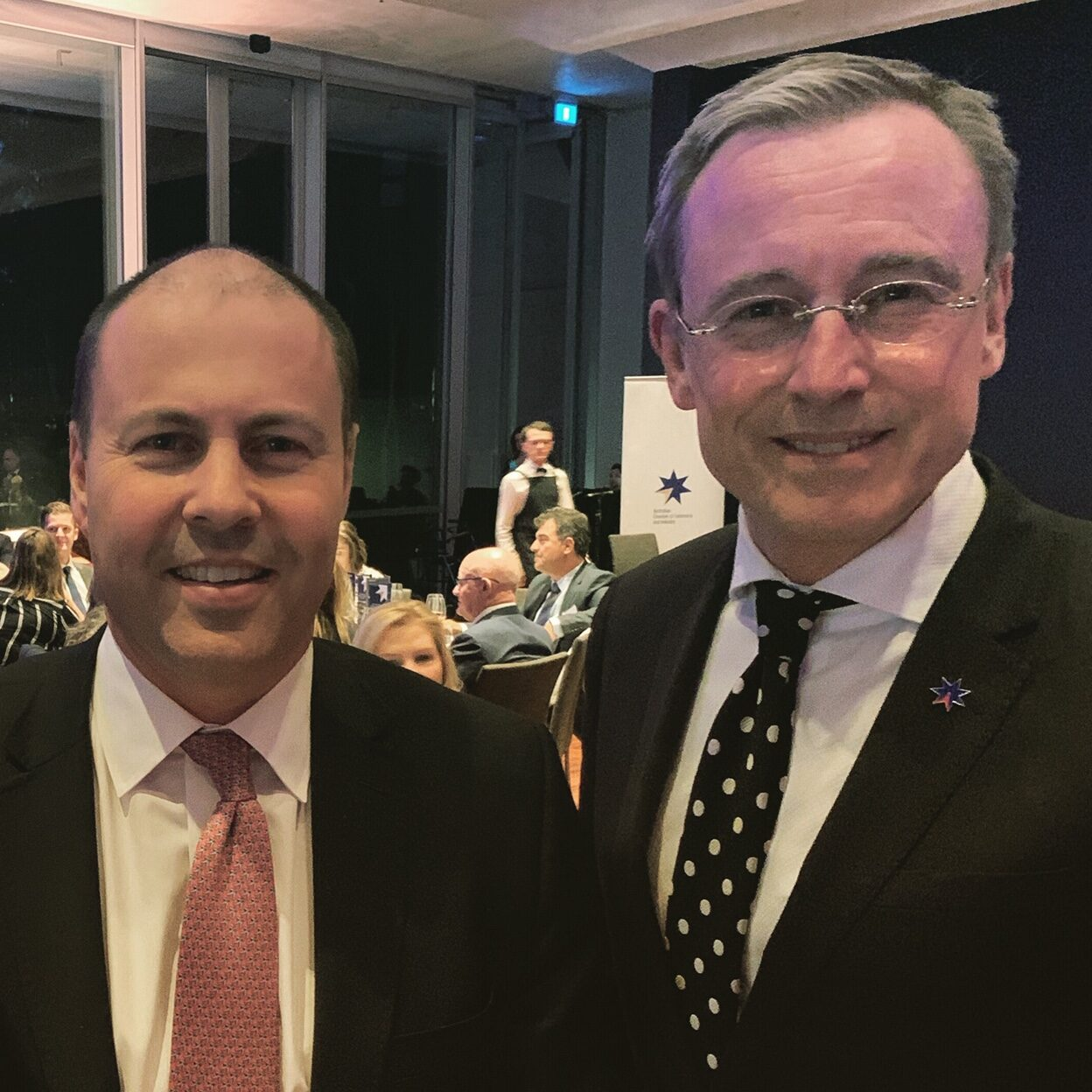 Honourable Josh Frydenberg MP, Treasurer of Australia and Martin Haese, CEO of Business SA, Chamber of Commerce and Industry South Australia