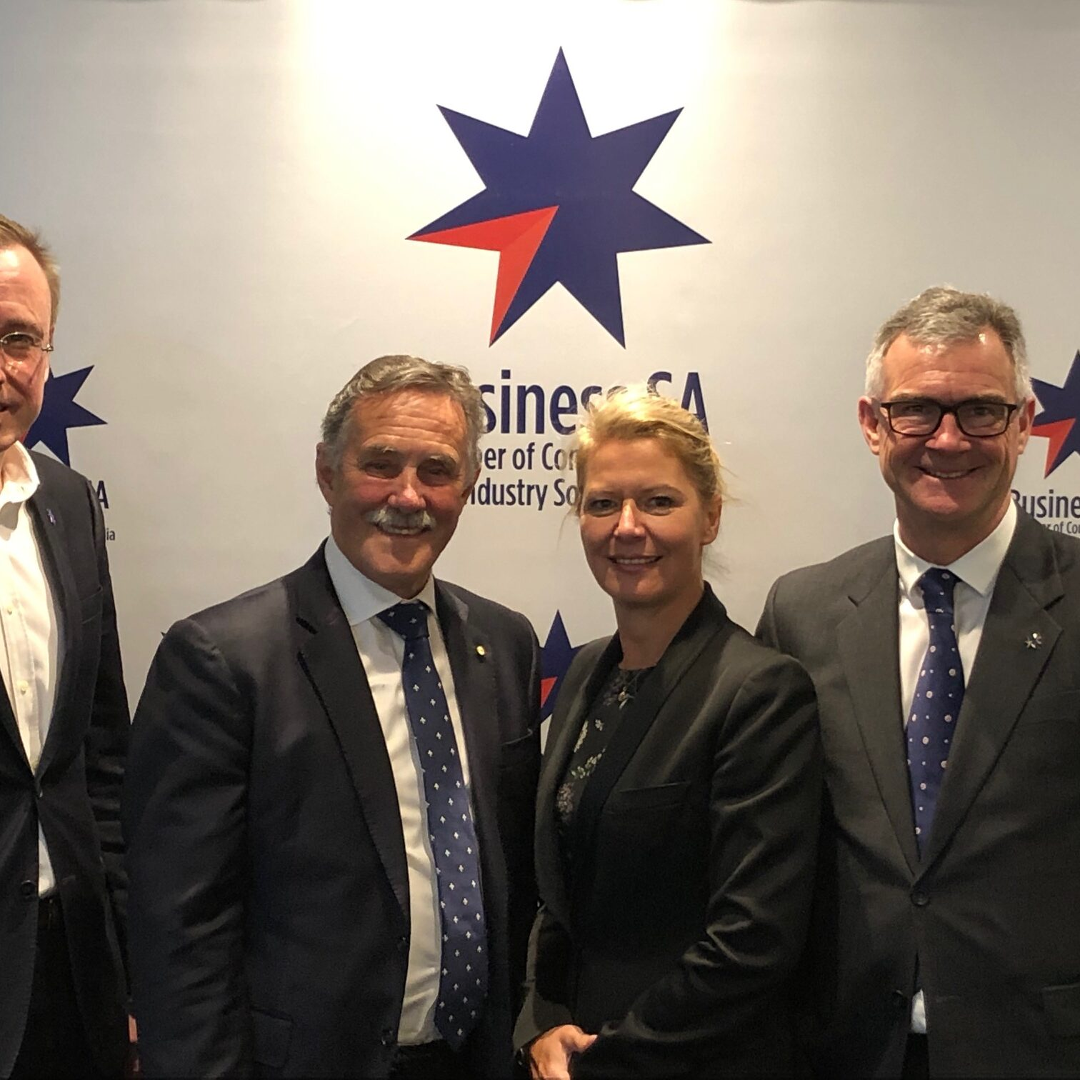 Martin Haese (CEO, Business SA), Jeremy Johnson (President, Australian Chamber of Commerce & Industry), Nikki Govan (Chair, Business SA) and James Pearson (CEO, Australian Chamber of Commerce & Industry).