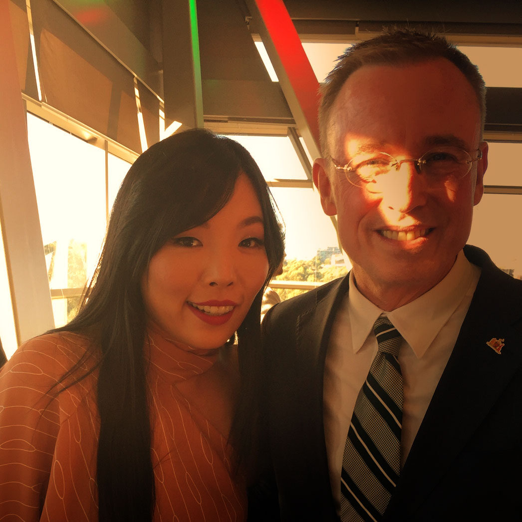 Lord Mayor Martin Haese with Dami Im Carols by Candlelight Elder Park City of Adelaide