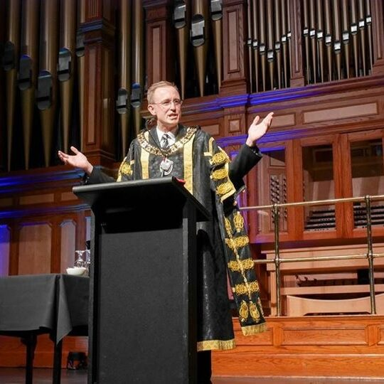 Lord Mayor of Adelaide Martin Haese at Adelaide Town Hall welcoming international students to South Australia.