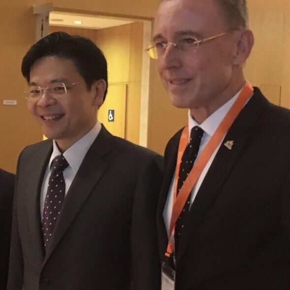 Minister Lawrence Wong of Singapore Government and Lord Mayor of Adelaide Martin Haese at the World Cities Summit in Singapore 2018.