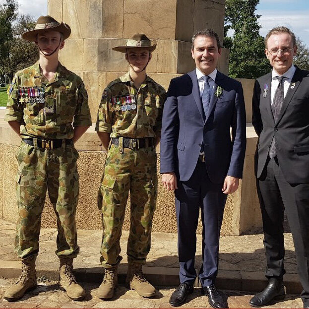 ANZAC Day Lord Mayor Martin Haese with Premier Steven Marshall MP Cross of Sacrifice Pennington Gardens