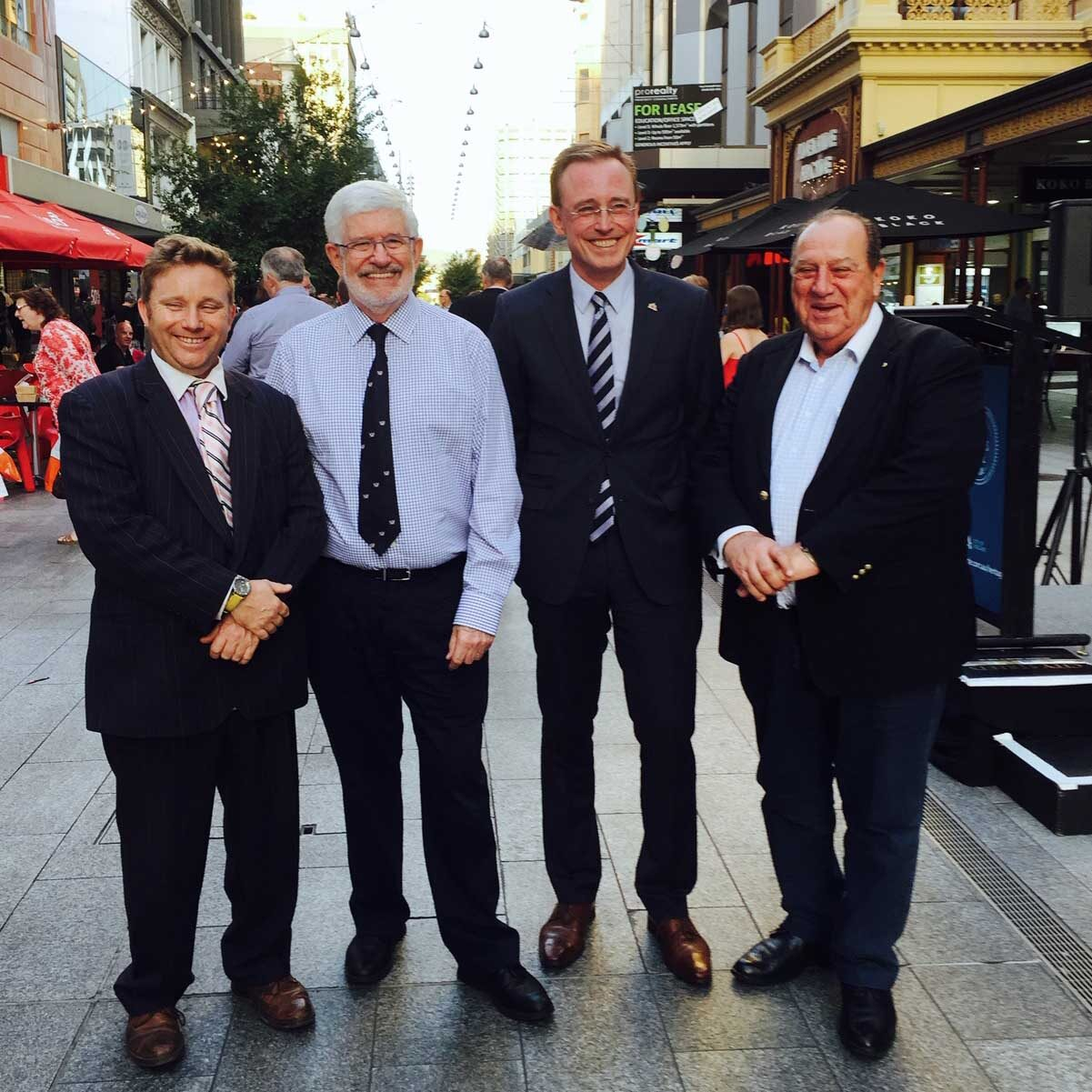 Lord Mayor Martin Haese with Councillor Sandy Wilkinson Keith Conlon OAM and Theo Maras AM City of Adelaide Heritage Incentive Scheme