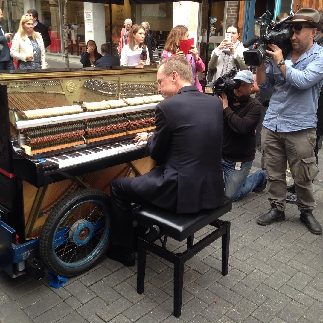 Lord Mayor Martin Haese performs with buskers Adelaide, Unesco City of Music