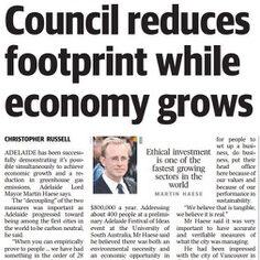Lord Mayor Martin Haese press clipping about the economic opportunities presented by climate