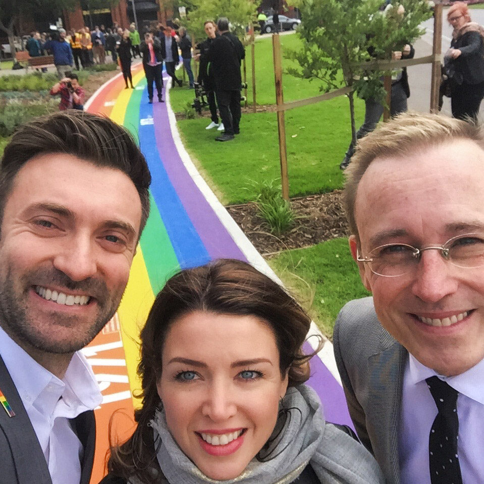 Lord Mayor Martin Haese with Dannii Minogue and Councillor Robert Simms opening Adelaide Pride walk