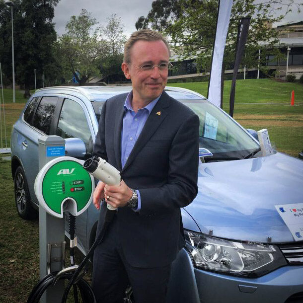 Lord Mayor Martin Haese electric vehicle charging station