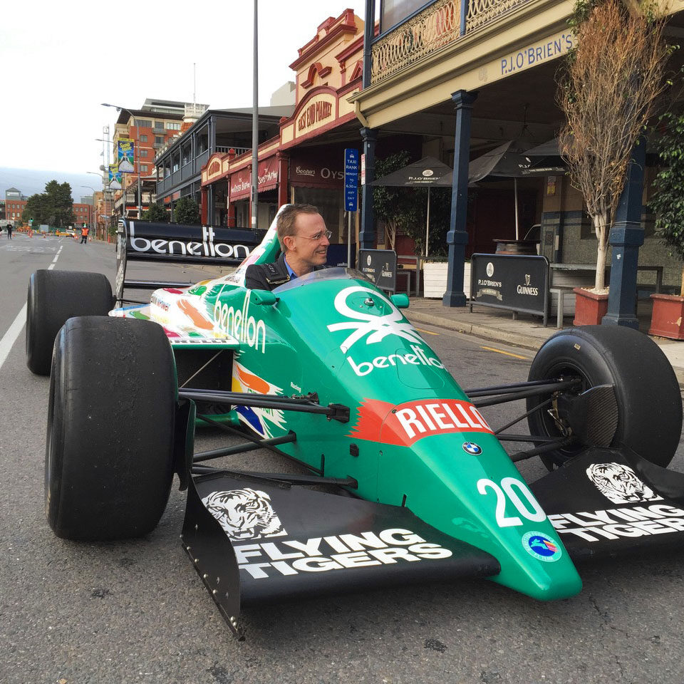 Lord Mayor Martin Haese test drives Gerhard Bergers Formula 1 Benetton BI86 Adelaide Grand Prix Rundle Street East Motorsport Festival