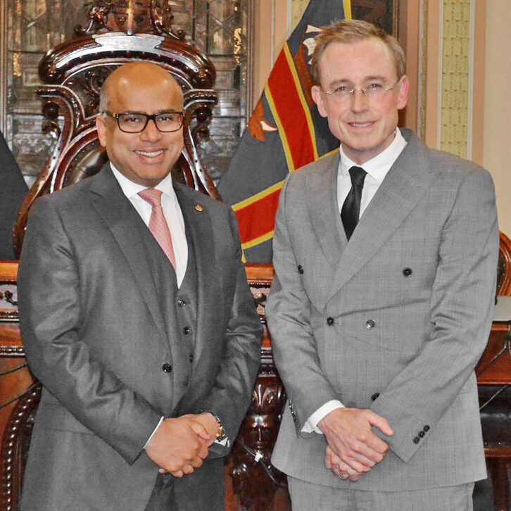 Lord Mayor Martin Haese with Sanjeev Gupta GFG Alliance
