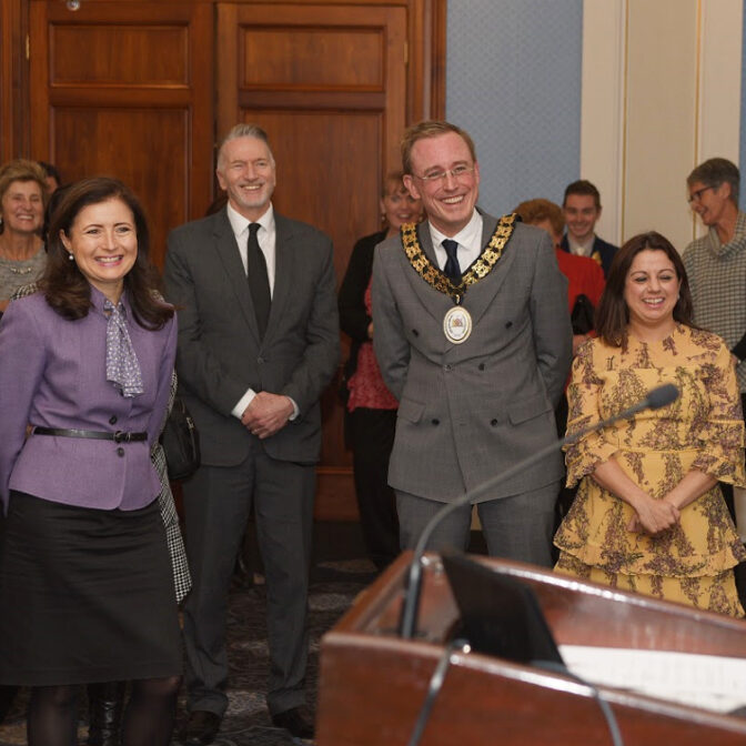 Lord Mayor Martin Haese the Honourable Rachel Sanderson MP Mark Goldstone and Councillor Natasha Malani