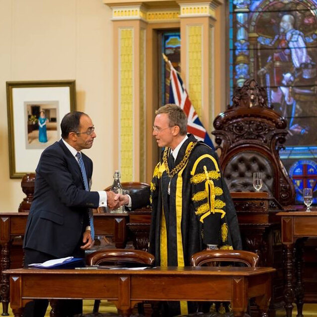 Lord mayor Martin Haese with the Honourable Chris Kourakis Chief Justice Adelaide City Council Chambers