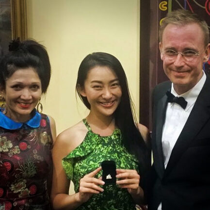 Lord Mayor Martin Haese and Lady Mayoress Geneveive Theseira Haese with actress Lily Ji 吉麗