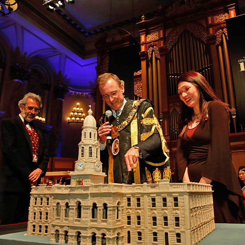 Lord Mayor Martin Haese and Lady Mayoress Genevieve Theseira Haese and Keith Crellin Adelaide Town Hall 150 year anniversary