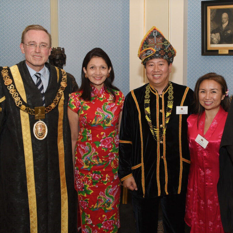 Lord Mayor Martin Haese and Lady Mayoress Genevieve Theseira-Haese with Alex Kittingan Honorary Consul of Malaysia and Angela Kittingan Colonel Lights Birthday Celebrations Adelaide Town Hall