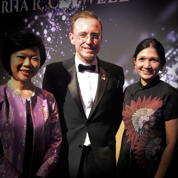Lord Mayor Martin Haese Lady Mayoress Genevieve Theseira-Haese with Minister Grace Fu Singapore World Cities Summit
