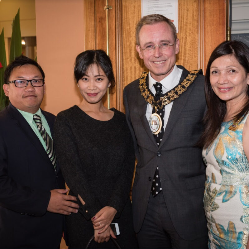 Lord Mayor Martin Haese Lady Mayoress Genevieve Thseira-Haese Peter Lay Bella He from Lay Consulting