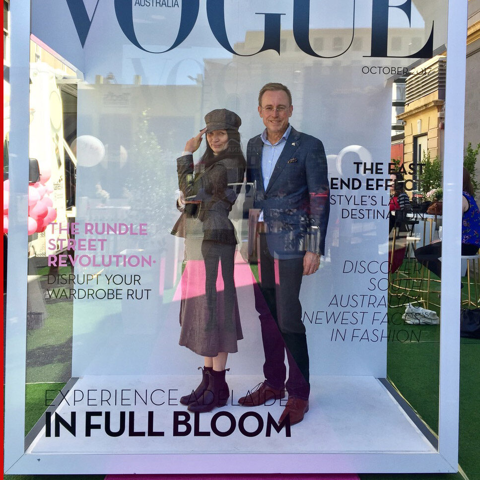 Lord Mayor Martin Haese and Lady Mayoress Genevieve Theseira-Haese Vogue Festival Rundle Street East Adelaide