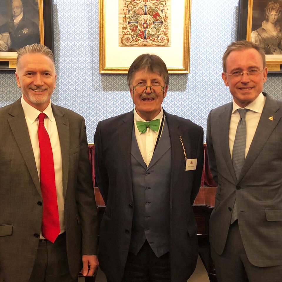 Lord Mayor Martin Haese with Mark Goldstone and Tim Wonnacott from Antiques Roadshow BBC
