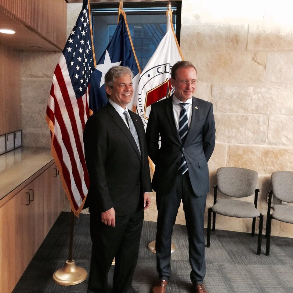 Lord Mayor Martin Haese with Mayor Steve Adler of Adelaide Sister City Austin Texas