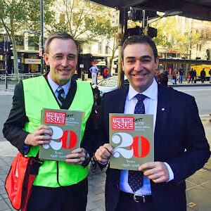 Lord Mayor Martin Haese with Premier Steven Marshall MP selling the Big Issue
