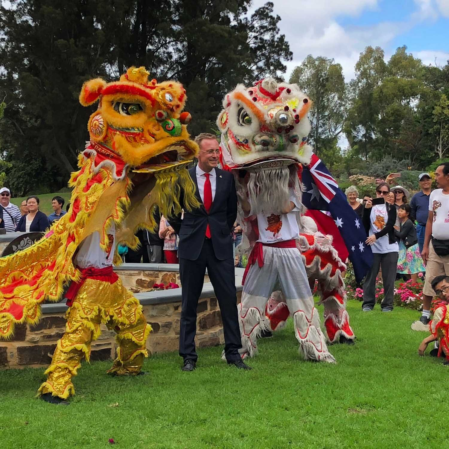 Lord Mayor Martin Haese at Qingdao Rose Garden Veale Garden Sister City Adelaide Parklands