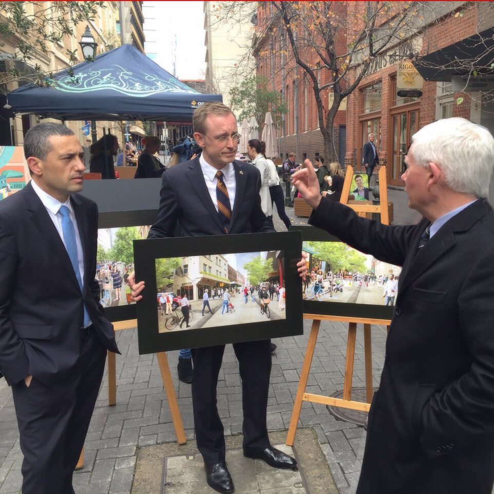 Lord Mayor Martin Haese with the SA Treasurer Tom Koutsantonis MP and Deputy Premier John Rau MP Leigh Street Adelaide