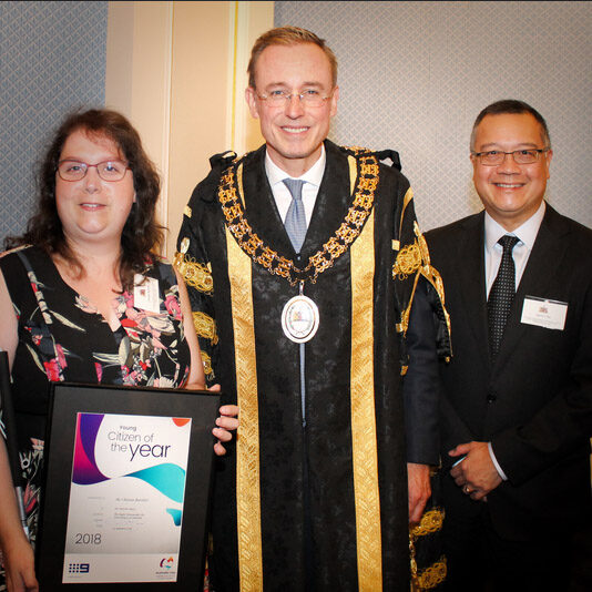 Lord Mayor Martin Haese with 2018 Young Australian of the Year Guide Dogs SA/NT volunteer Chelsea Bartlett and CEO Aaron Chia