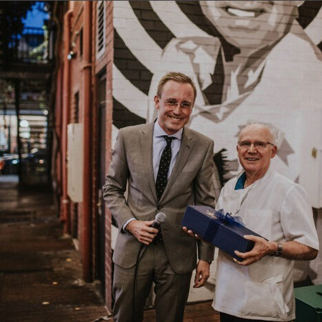 Lord Mayor Martin Haese with Frank of Franks Hairdressing at the renaming of Frank's Lane East End Adelaide