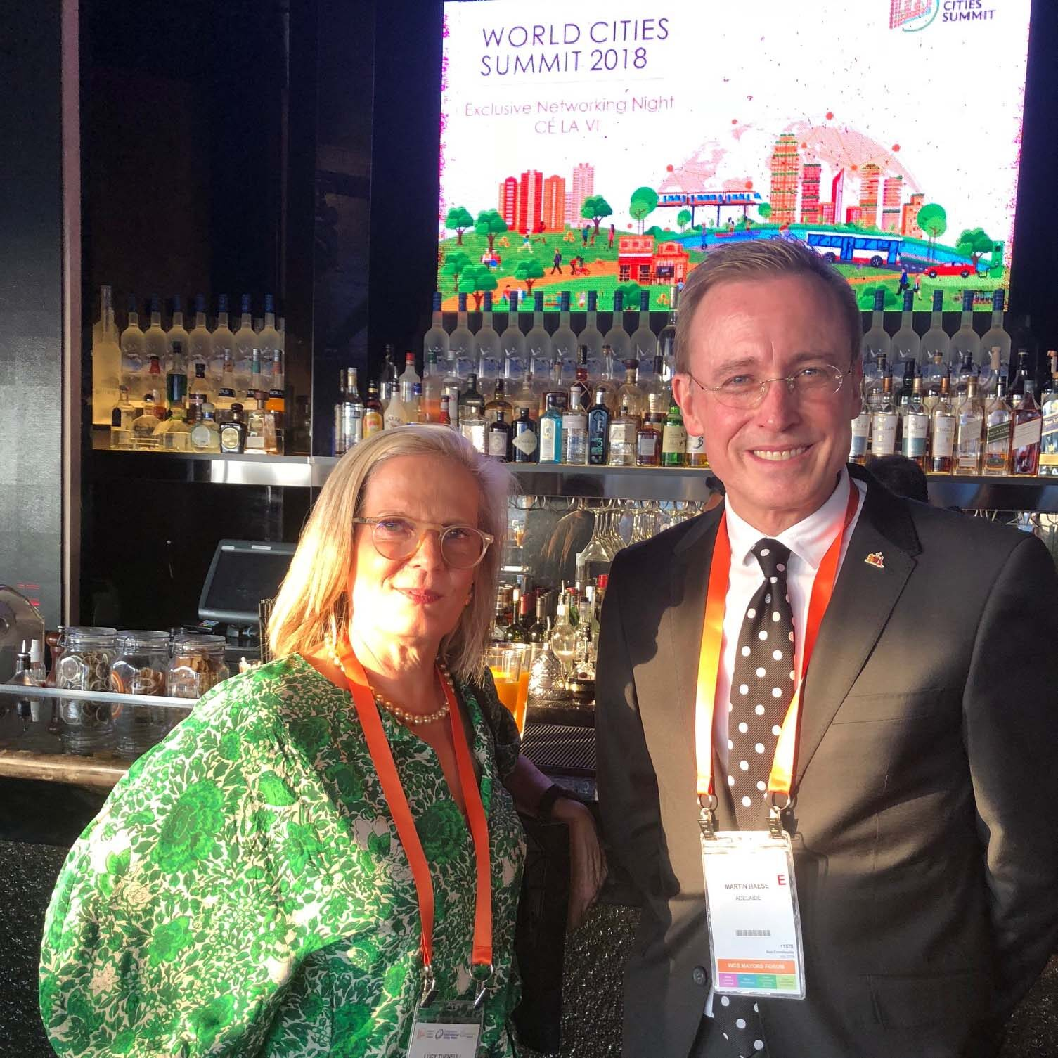 Lord Mayor Martin Haese with Lucy Turnbull AO at the World Cities Summit Singapore 2018