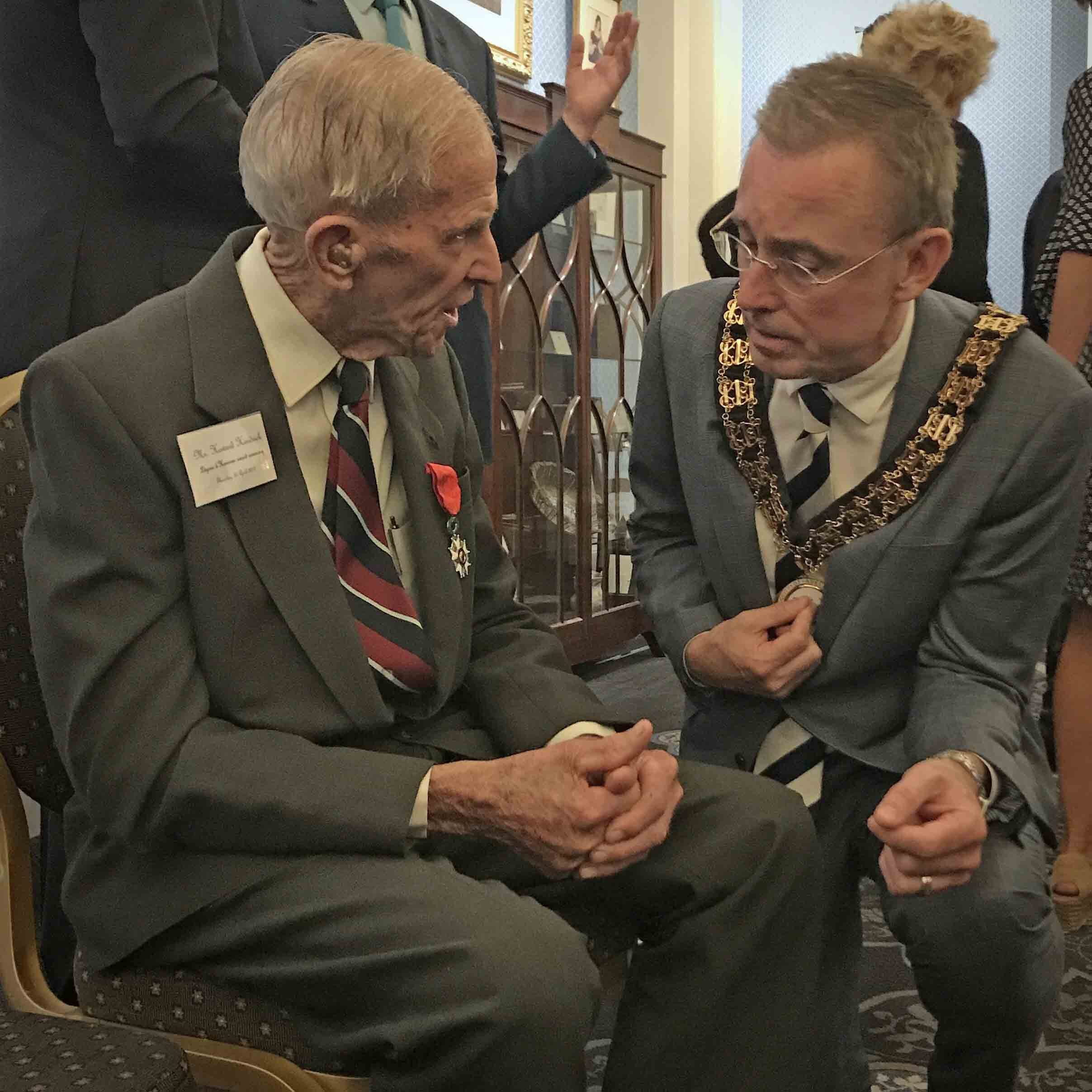 Lord Mayor Martin Haese with Mr Howard Hendrick DFC Queen Adelaide room Adelaide Town Hall