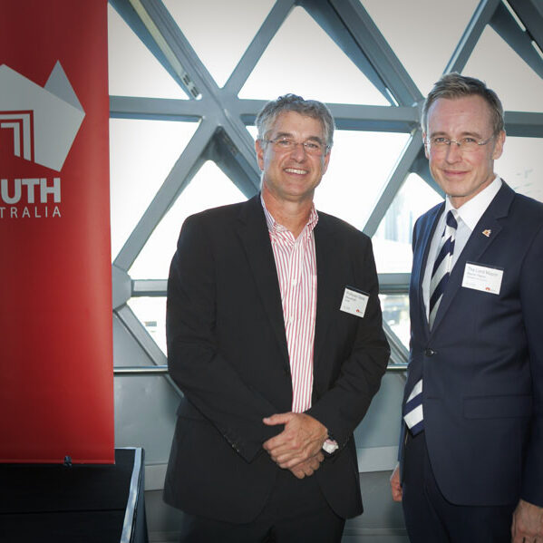 Lord Mayor Martin Haese with Professor Steve Wesselingh celebrate the 1st anniversary of the opening of SAHMRI Adelaide