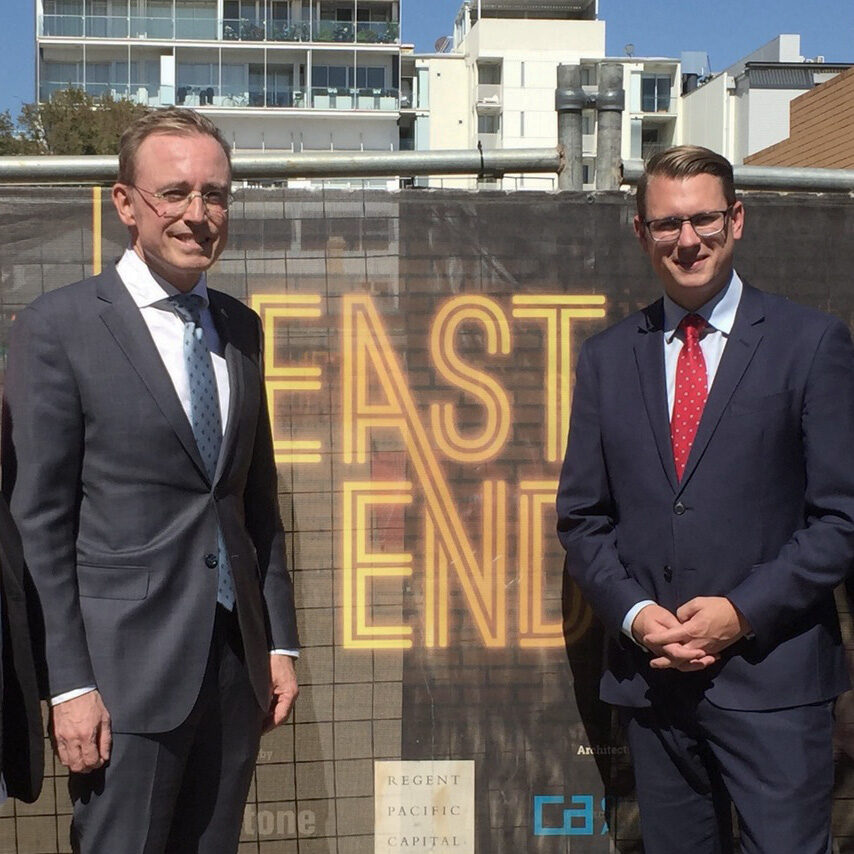Lord Mayor Martin Haese with the Honourable Stefan Knoll MP East End Adelaide