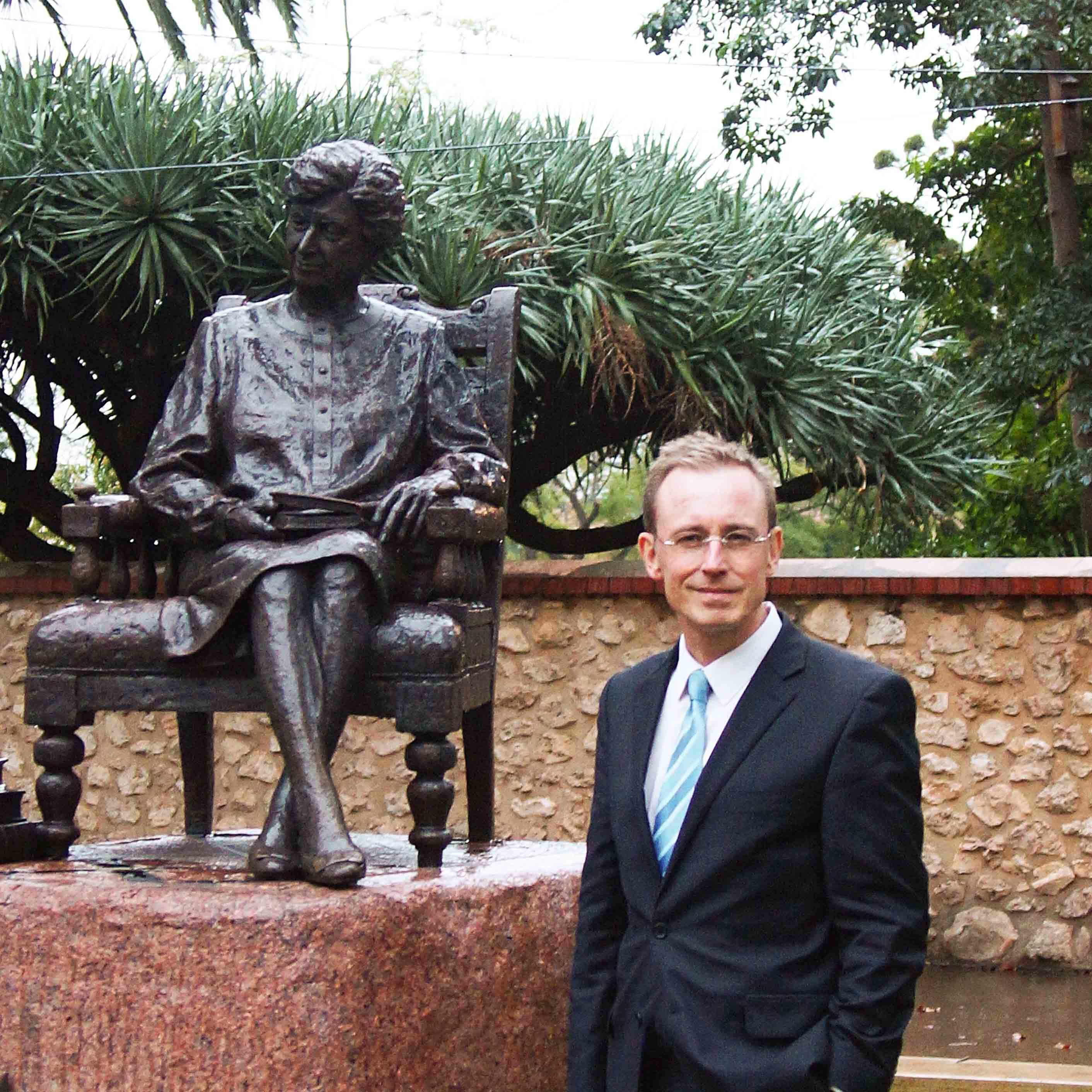 Martin Haese with Dame Roma Mitchell statue North Terrace Adelaide